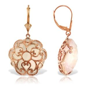 EARRING WITH CHECKERBOARD CUT ROUND QUARTZ ROSE